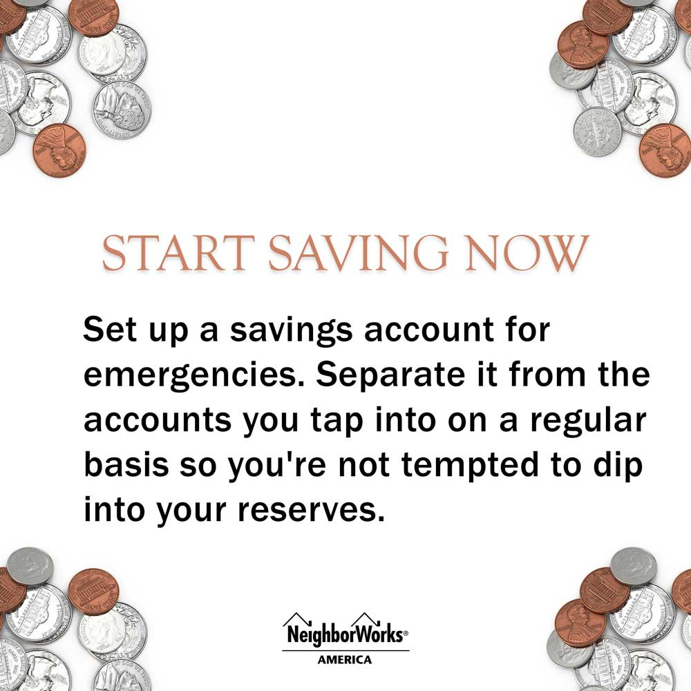 Piles of change are in each corner of the text graphic that reads: Start saving now - Set up a savings account for emergencies