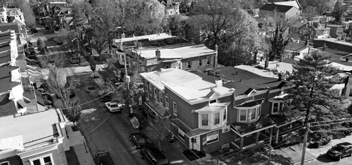 A grayscale image of a neighborhood in Wilmington, Delaware