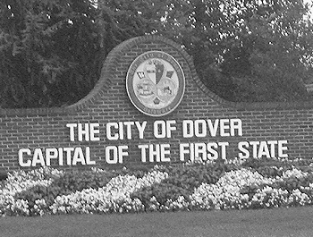Brick sign of the City of Dover, Capital of the First State