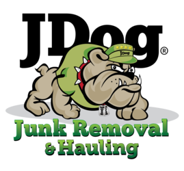 JDog Junk removal logo with bulldog wearing green hat