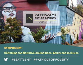 Mural of a person with glasses and text that highlights the NeighborWorks Seattle symposium reframing the narrative around race, equity and inclusion